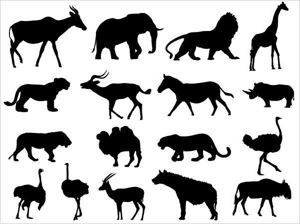Animals Silhouettes Vector Download Free Vector Art
