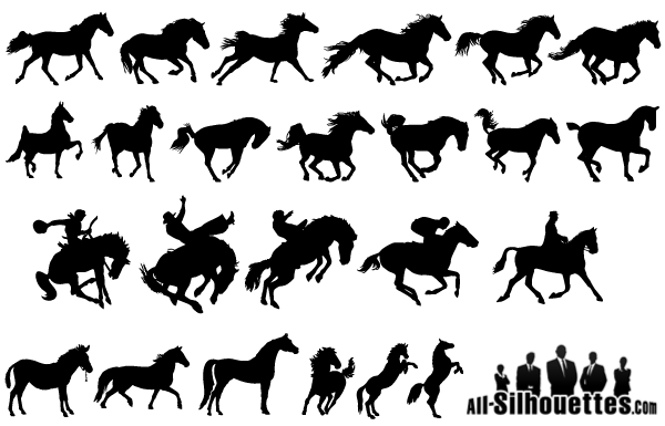 Horse Silhouettes Free Vector Pack