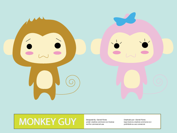 Vector Cute Cartoon Monkey Guy
