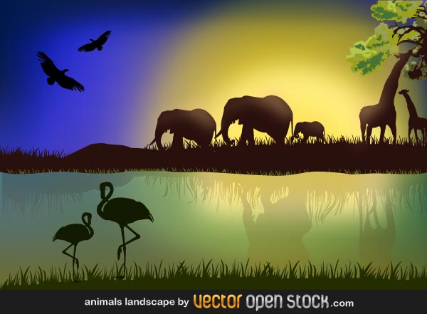 African Savannah Landscape with Elephant and Giraffe Silhouettes