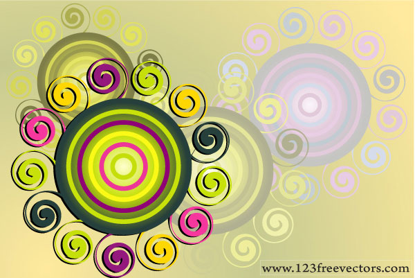 Swirl &Amp; Circle Background Vector