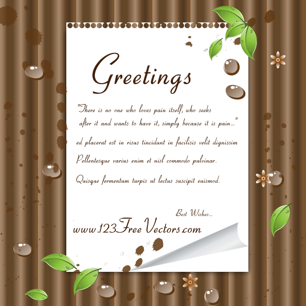 Green Leaves and Note Paper on Wooden Background