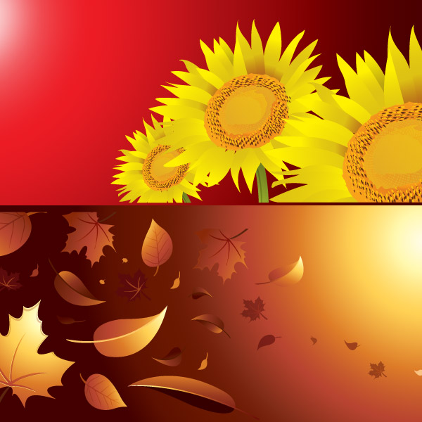 Autumn and Summer Vector Background Free