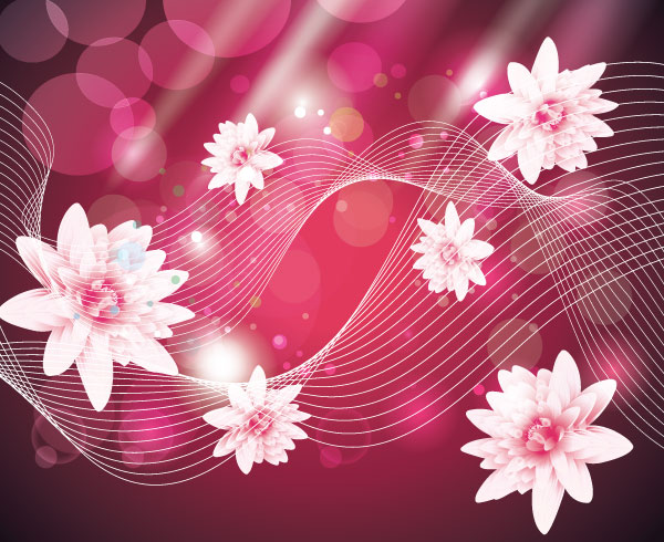 Abstract wave background with pink flowers vector art download abstract wave background with pink flowers vector art mightylinksfo