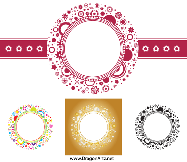 Vector Flower Circle Frame Free | Download Free Vector Art | Free ...