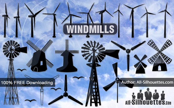 Free Vector Windmill Silhouettes