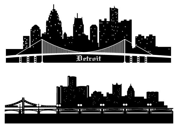 Detroit Skyline Silhouettes Free Vector