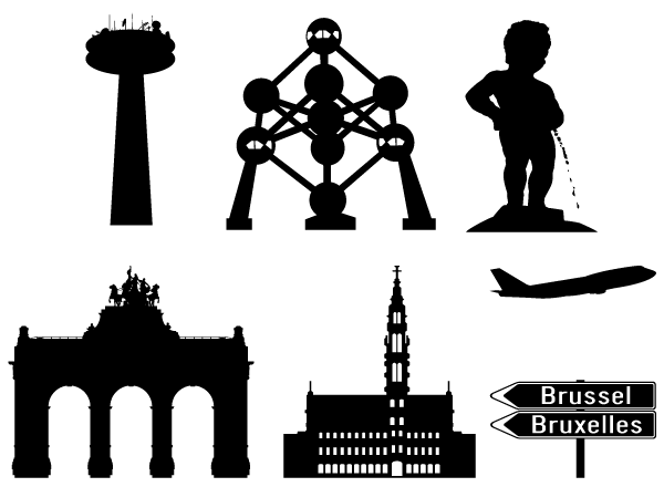 Brussels in Silhouettes Vector