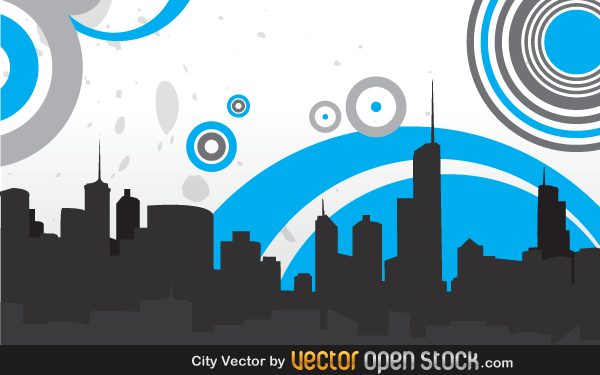 City Skyline with Circles Vector Graphics