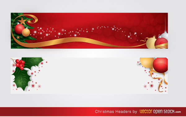 Free Christmas Headers Vector Illustration