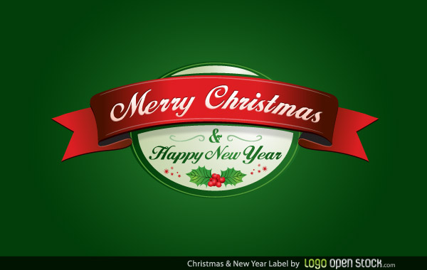Vector Merry Christmas and New Year Label Design