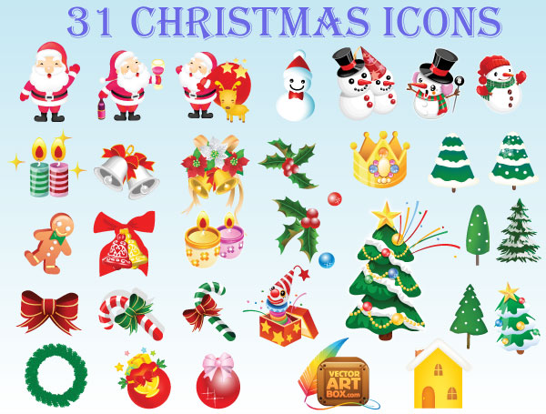 Christmas Icons Free Vector Set