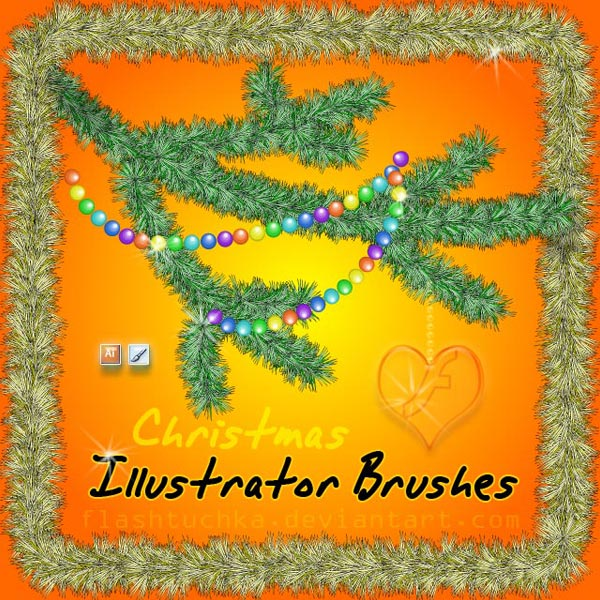 Christmas Tree Branch Illustrator Brushes