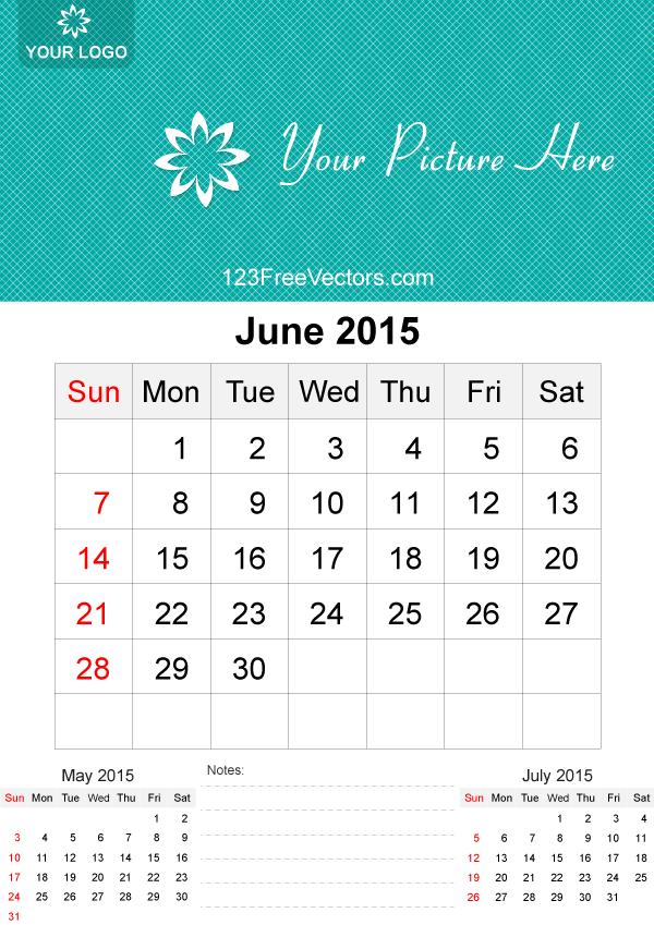 June 2015 Calendar Template Vector Free Download Free Vector Art
