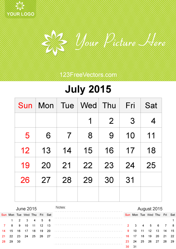 july 2015 calendar template vector free
