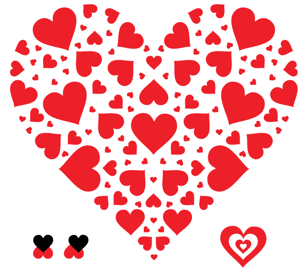 Vector Heart in Heart Shape Illustration