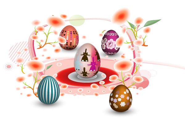 Vector Colorful Easter Eggs Illustration