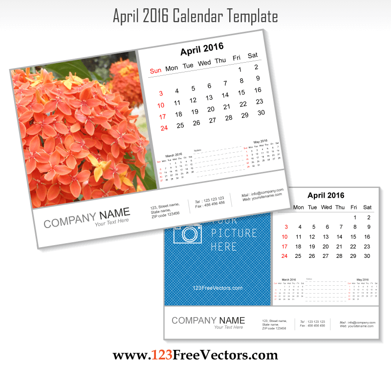 April 2016 Calendar Template Download Free Vector Art Free Vectors