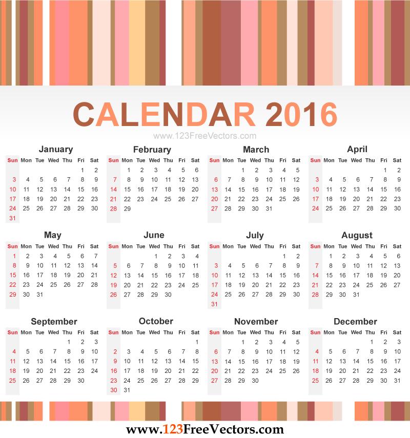 calendar 2016 vector download free vector art free vectors