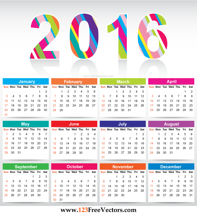 Free Colorful Calendar 2016 Vector Template Download Free Vector