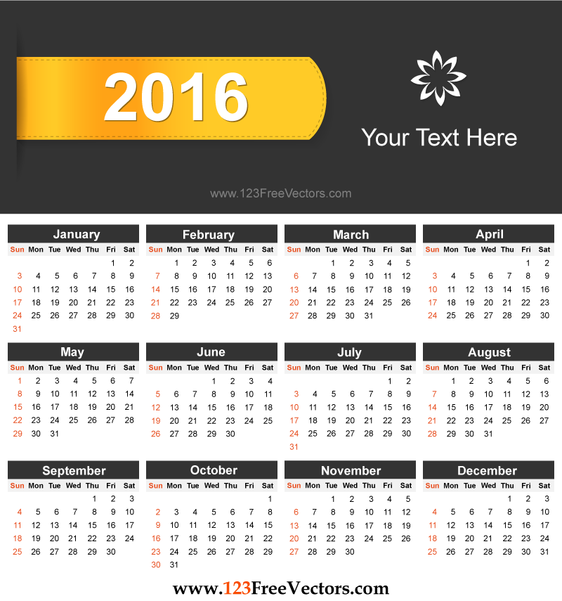 Free Download 2016 Calendar