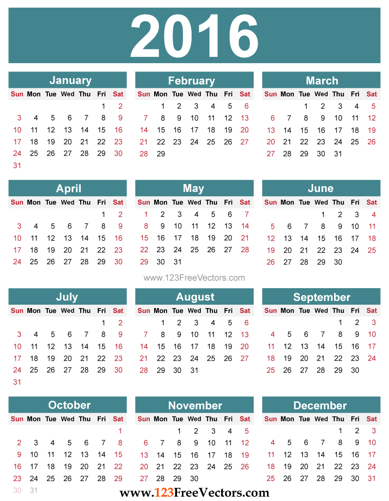 Free Editable 2016 Calendar | Download Free Vector Art ...