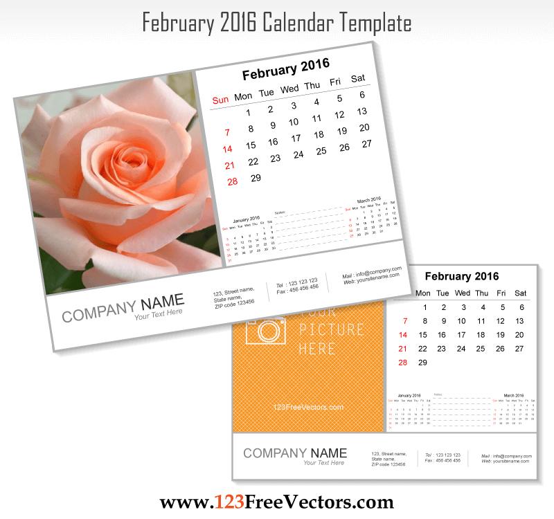 February 2016 Calendar Template Download Free Vector Art Free