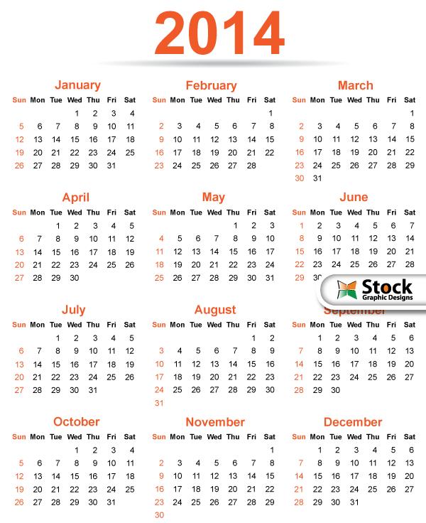 2014 Calendar Template Vector Free Download Free Vector Art Free