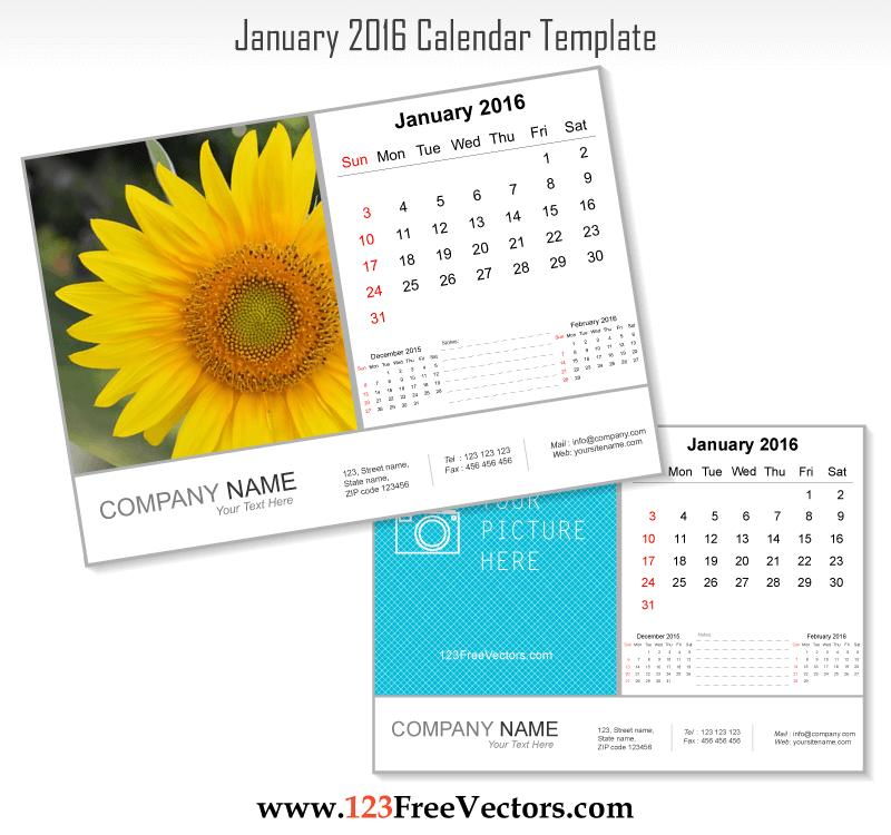 January 2016 Calendar Template Download Free Vector Art Free Vectors