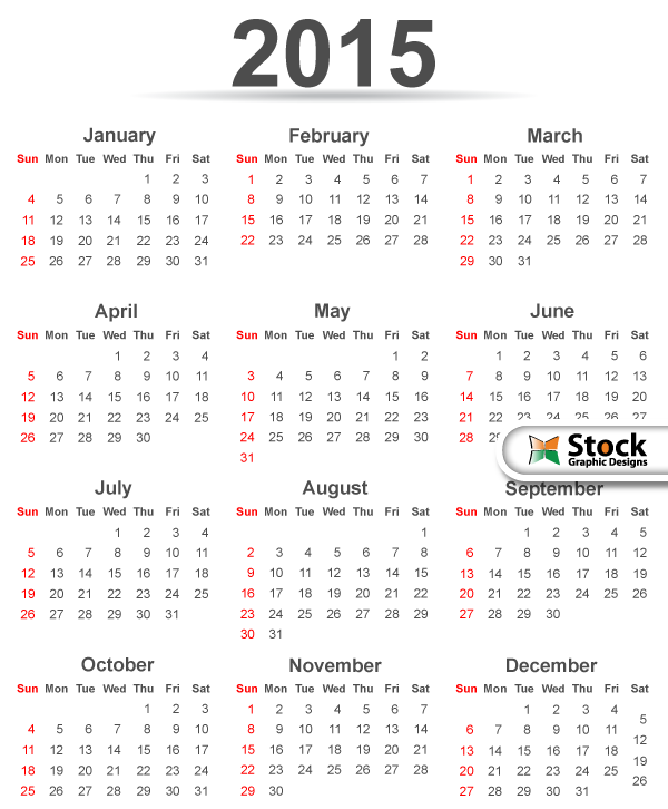 Simple 2015 Calendar Template Vector Free Download Free Vector Art