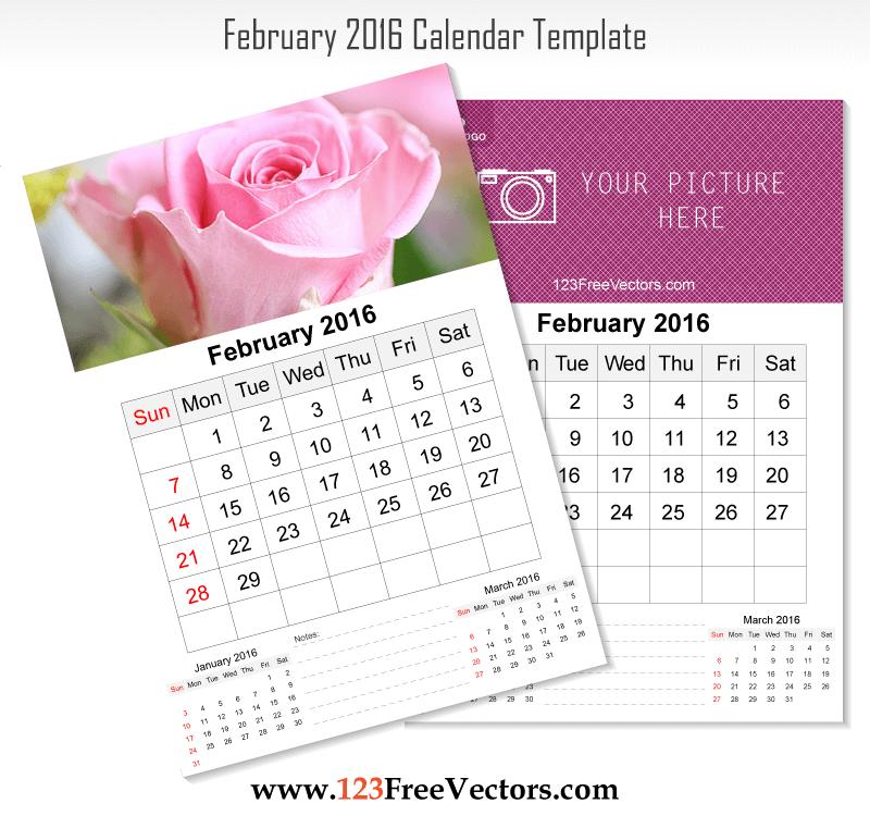 Wall Calendar February 2016 Download Free Vector Art
