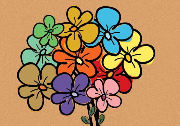 Colorful Vector Flowers Free