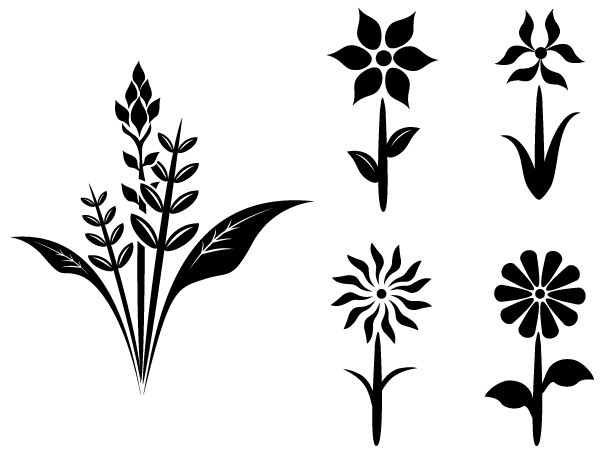 Flower Plant Free Vector Silhouettes