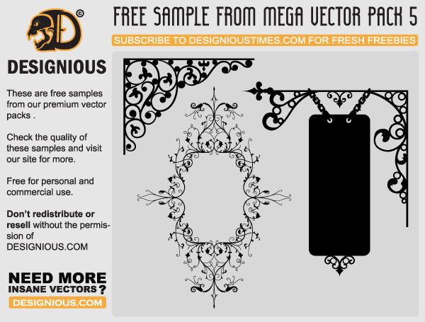 Vector Flowers and Wrought Iron Signboard Designs