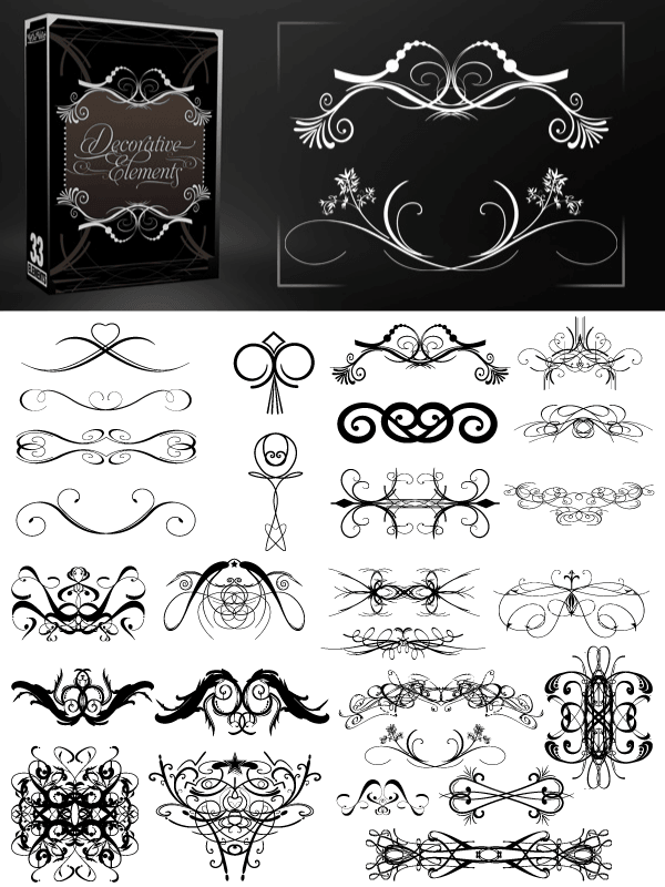 Vectors Decorative Elements Brushes Pack