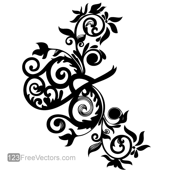Hand Drawn Swirl Floral Vector Image Download Free Vector Art