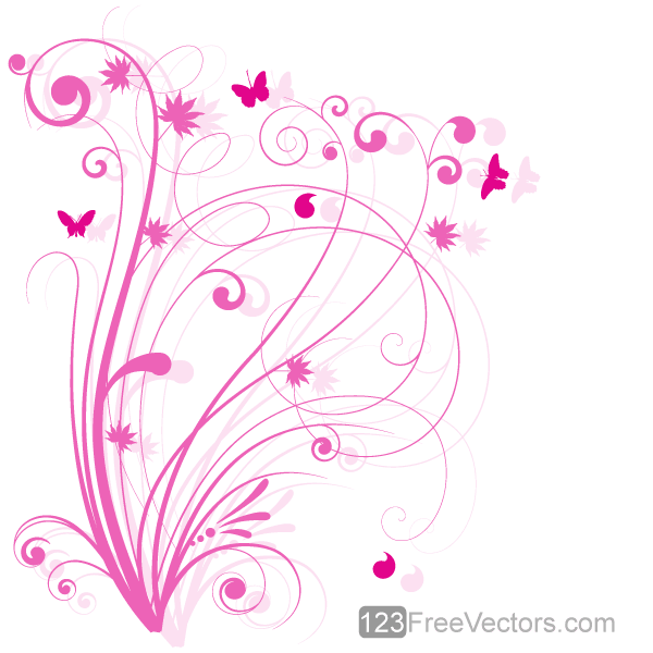 Vector Floral Design 5 – Pink Floral Background