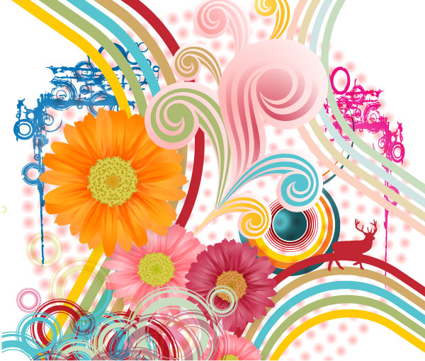 Flower And Swirl Vector