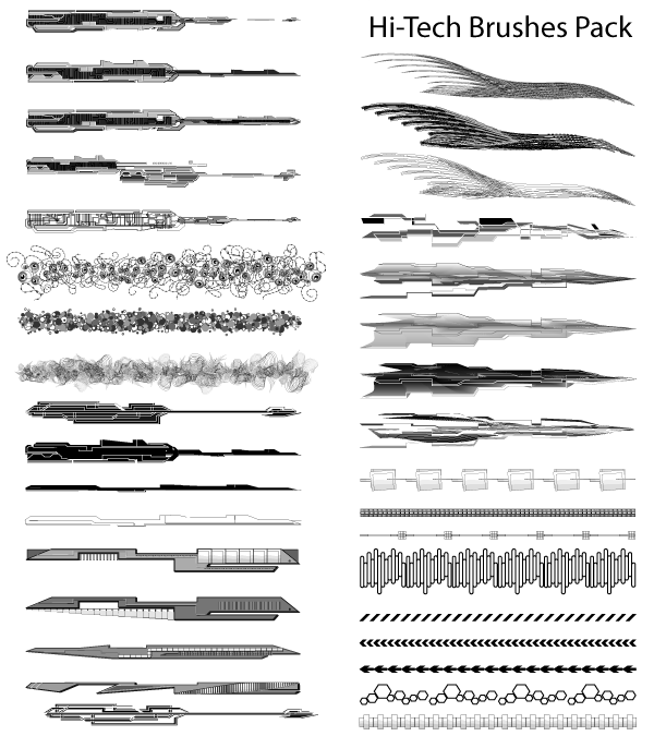 Hi-Tech Illustrator Brushes Pack