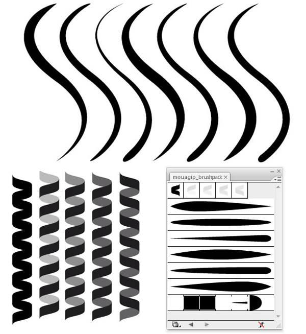 Line Texture Illustrator : Coil and line illustrator brushes download free vector