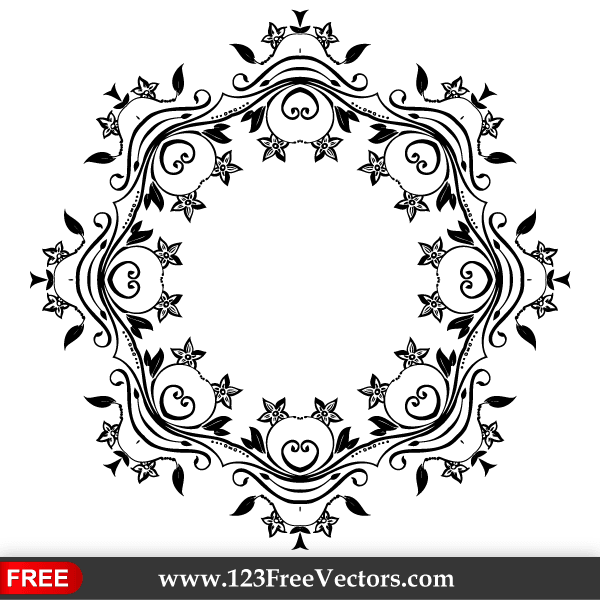 0f3d3a9dc70 Vector Flower Ornate Frame Design