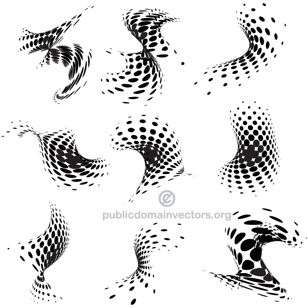 Vector Abstract Halftone Dots Design Elements
