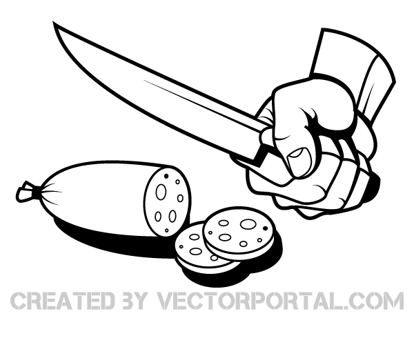 Hand Slicing Fruit Vector Clip Art