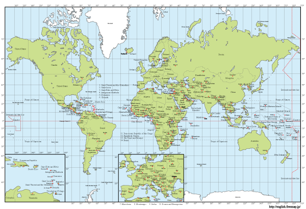 Wonderful Vector World Map With Capitals Free Download
