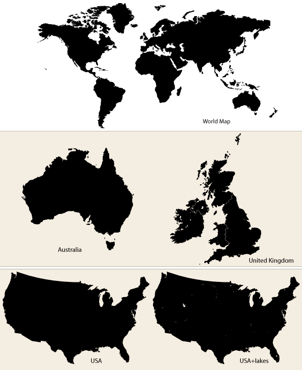 Map Of Australia And Usa.Vector Maps World Map Australia Uk And Usa Download Free Vector