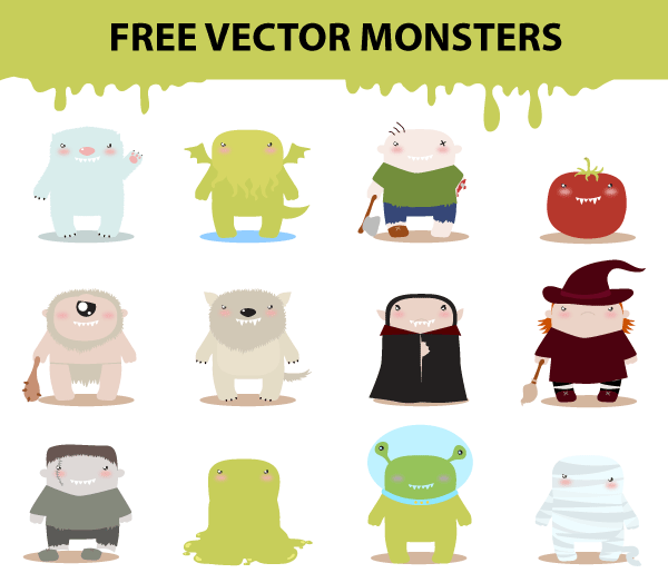 Free Vector Cartoon Monster Characters