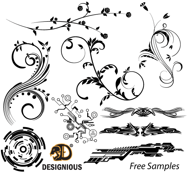 vector samples  floral  tech shapes and tribal designs
