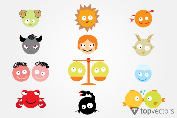 Funny Astrology Signs Vector
