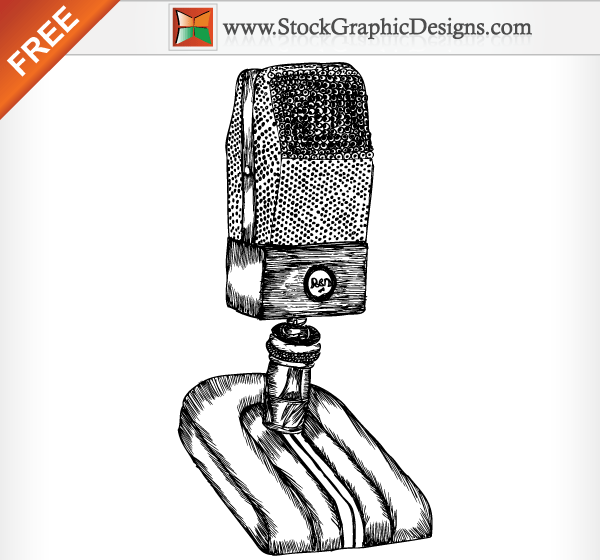 Hand Drawn Microphone Free Vector Illustration