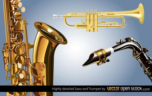 Saxophone and Trumpet Free Vector